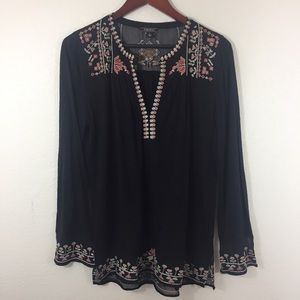Lucky Brand Floral Embroidered Top Blouse L